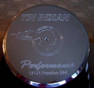 Tin Indian Performance Logo with CF-71 logo air cleaner lid